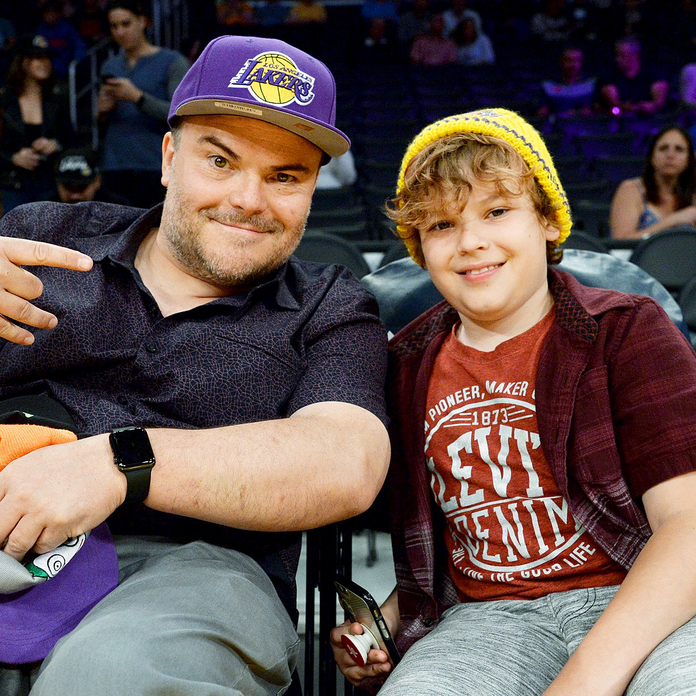 Jack Black and his son Samuel attend Washington Wizards and Los Angeles Lakers basketball game at Staples Center March 28 2017, in Los Angeles, California.